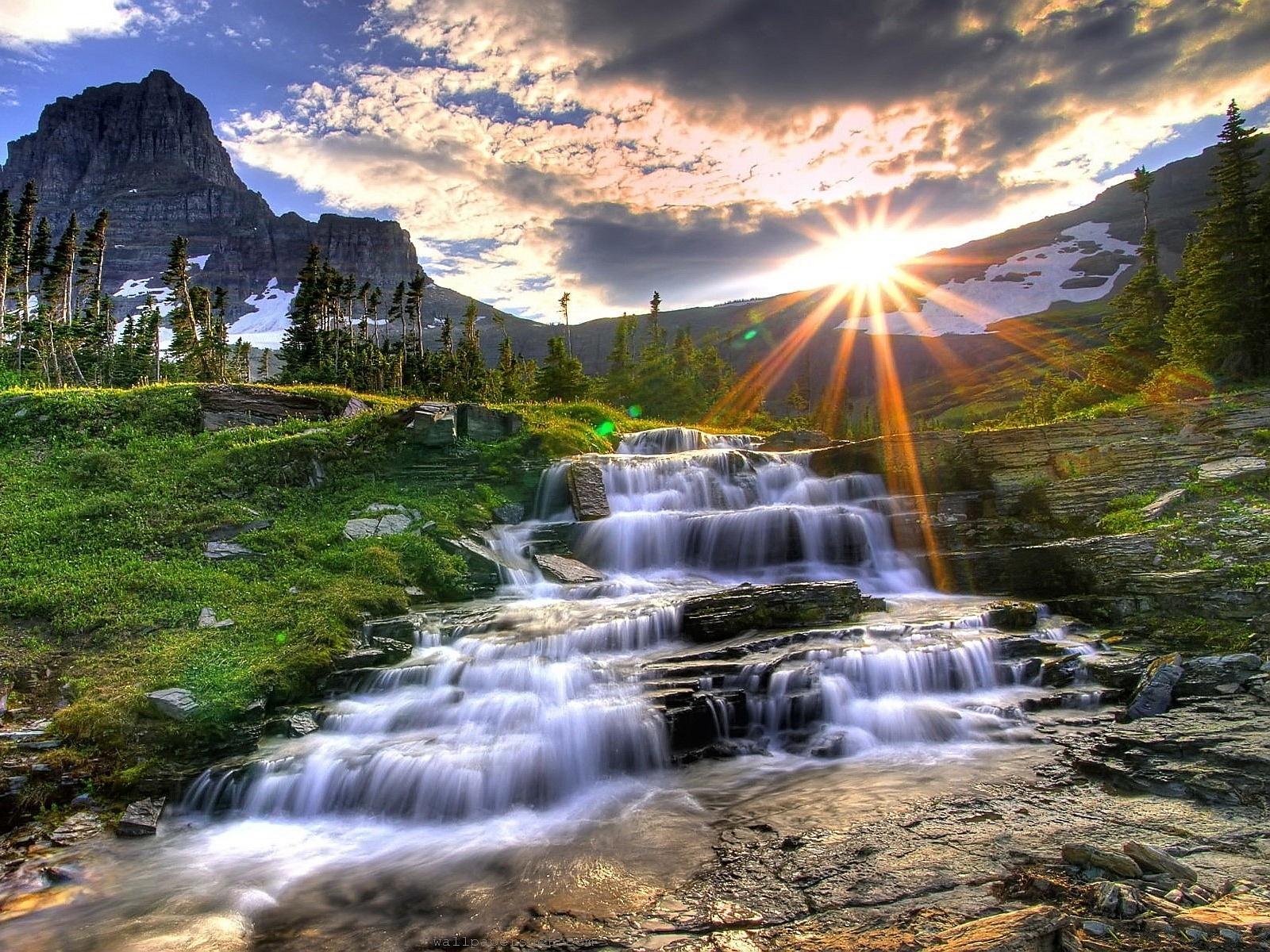 Waterfall mountain sunset 16001200 many worlds theory many worlds puzzle 4 waterfall mountain sunset 16001200 altavistaventures Images
